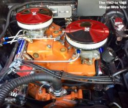 1962 Dodge Polara 500, engine with ten inch air cleaners